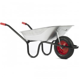 90L Chasseur Galvanised Barrow c/w Pneumatic - Standard Tyres