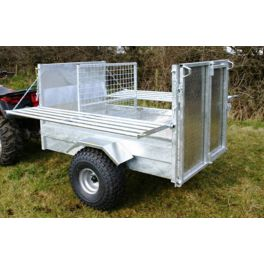 5x3'3 Quad Trailer: Folding Sides with Swing Door