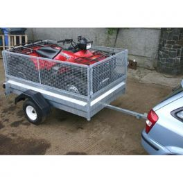 "7x4 General Purpose Quad Trailer with Standard Floor - Full 36"" Sides, Half Solid + Half Mesh"